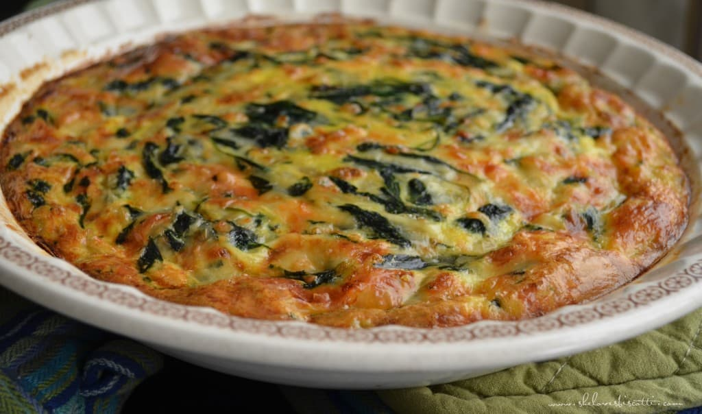 Simple Easy Crustless Spinach Quiche - She loves biscotti
