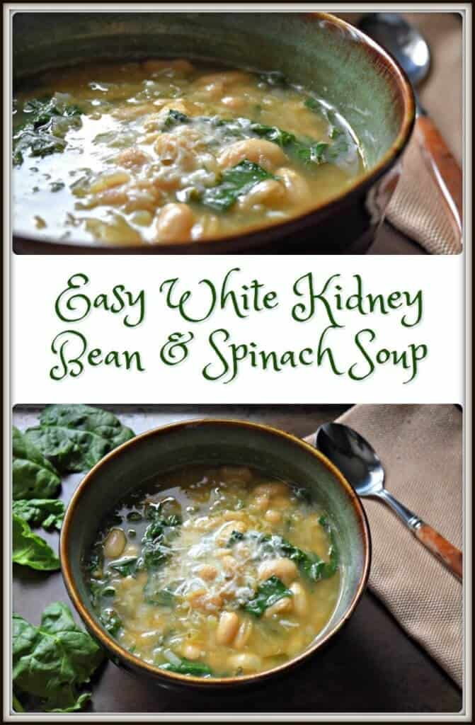Easy White Kidney Bean And Spinach Soup She Loves Biscotti