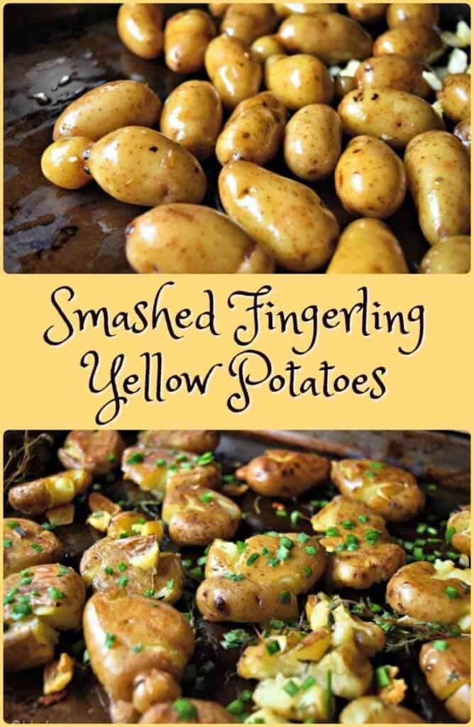 Garlic Chives Smashed Fingerling Yellow Potatoes
