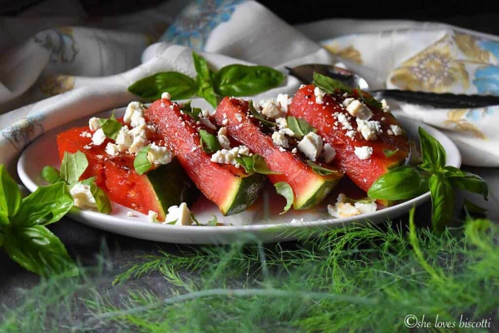 Basil Balsamic Ricotta Salata Grilled Watermelon