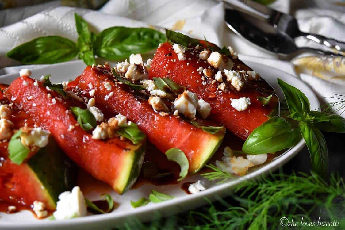 Basil Balsamic Ricotta Salata Grilled Watermelon - She loves biscotti