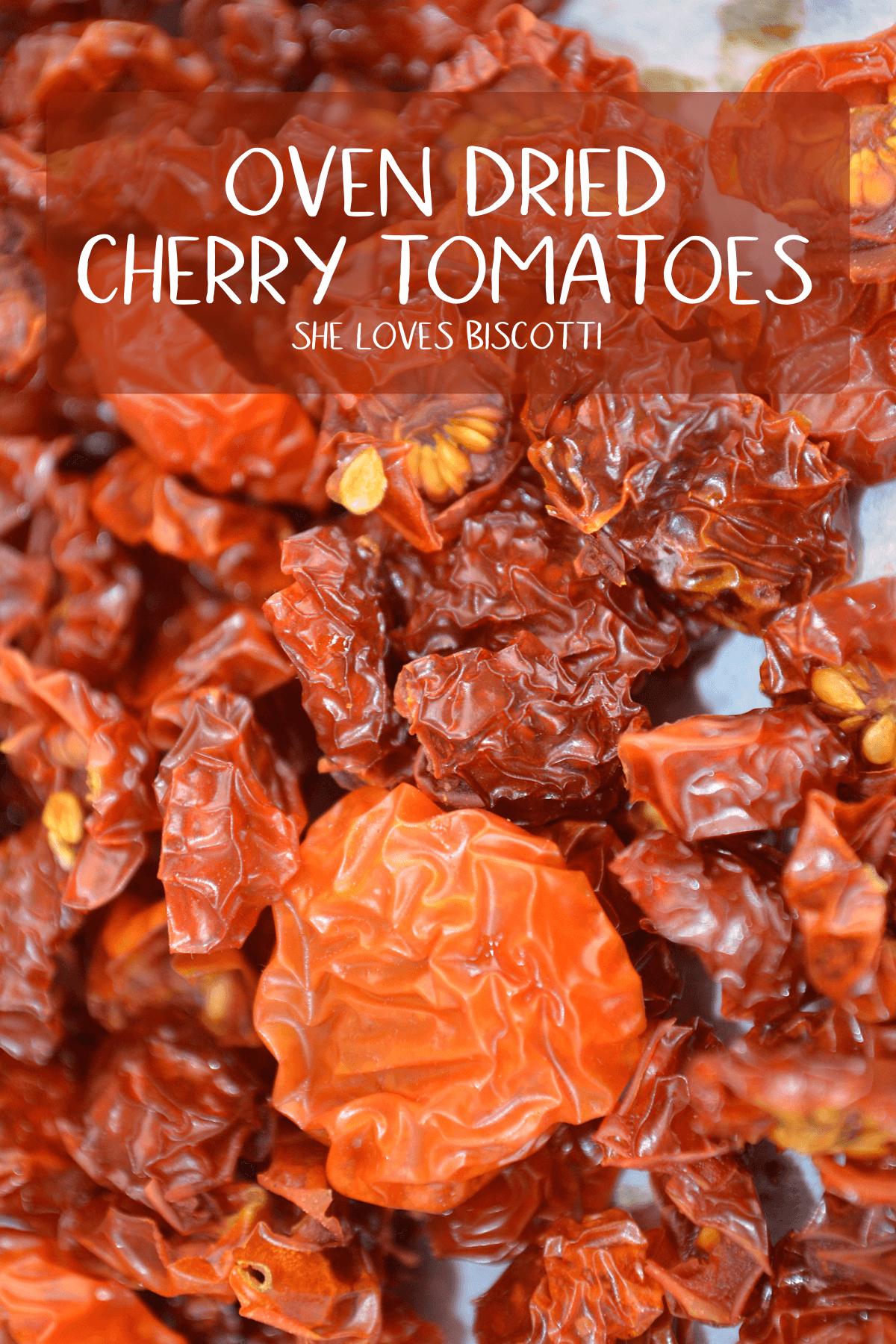 Oven dried Cherry Tomatoes - A DIY on how to make homemade Oven Dried Tomatoes It's almost impossible to believe but once cherry tomatoes are dried, the sweetness is intensified. These dried cherry tomatoes will enhance the flavors in almost any recipe #shelovesbiscotti #omelettes, #frittatas, #salads, #pastas #pesto #soups and so much more!!! #ovendriedtomatoes #sundriedtomatoes #tomatoes #appetizers #summerrecipe #Italianrecipe #DIY