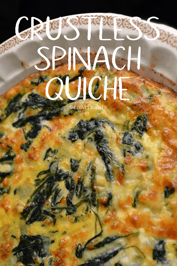 Looking for an easy dinner recipe? Try this Crustless Spinach Quiche! #shelovesbiscotti #dinner #easyrecipe #vegetarian #spinachquiche #crustlessquiche #easyquiche  #quiche  #quicherecipe #crustlessspinachquiche