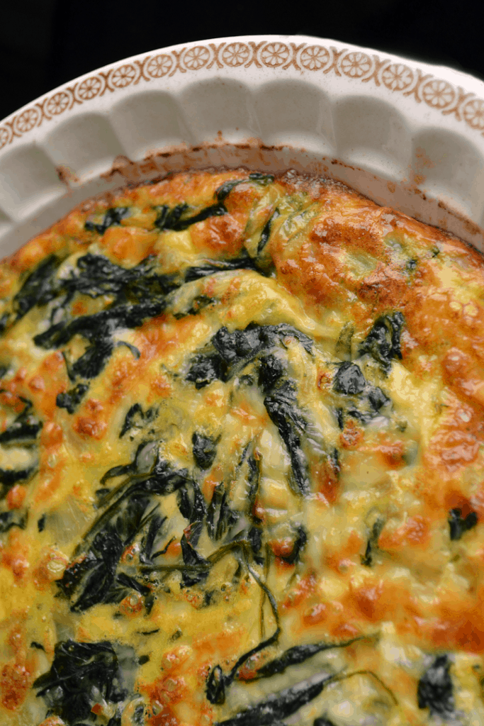 An overhead shot of the crustless spinach quiche
