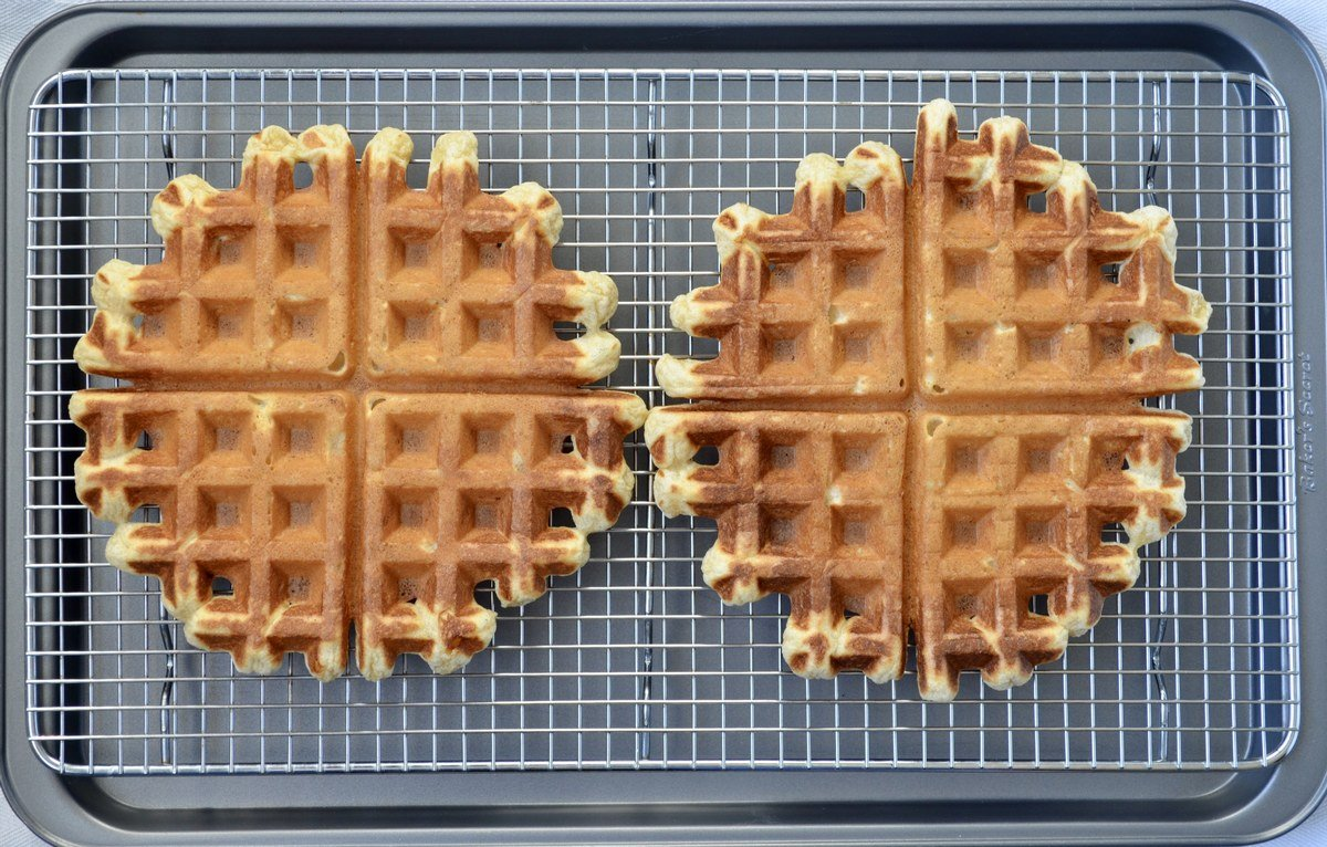 Waffles set on a cooling rack.