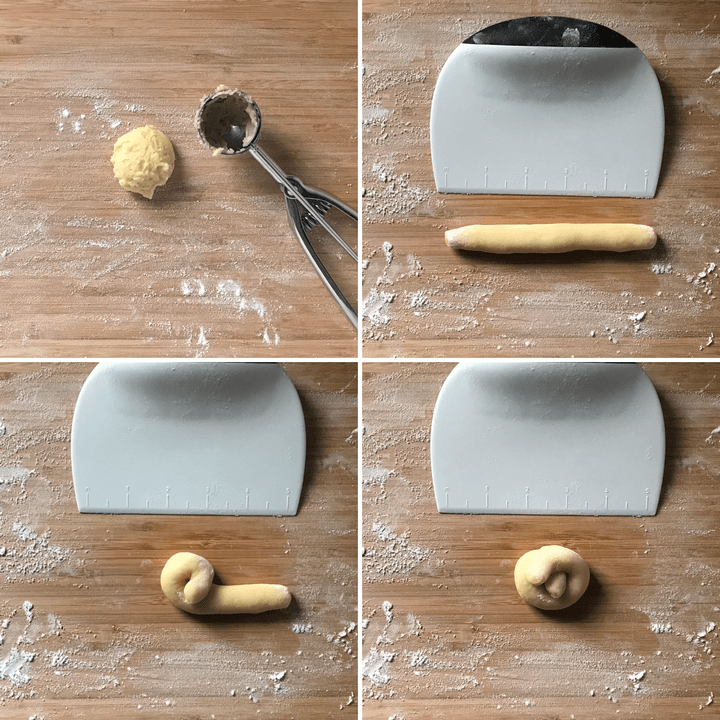 "A collage of 4 pictures showing the process of rolling this Italian lemon cookie into a ""fake"" not."
