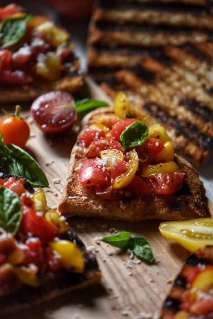 Heirloom cherry tomatoes used as a topping for bruschetta.
