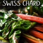 Swiss chard being sauteed in a pan.