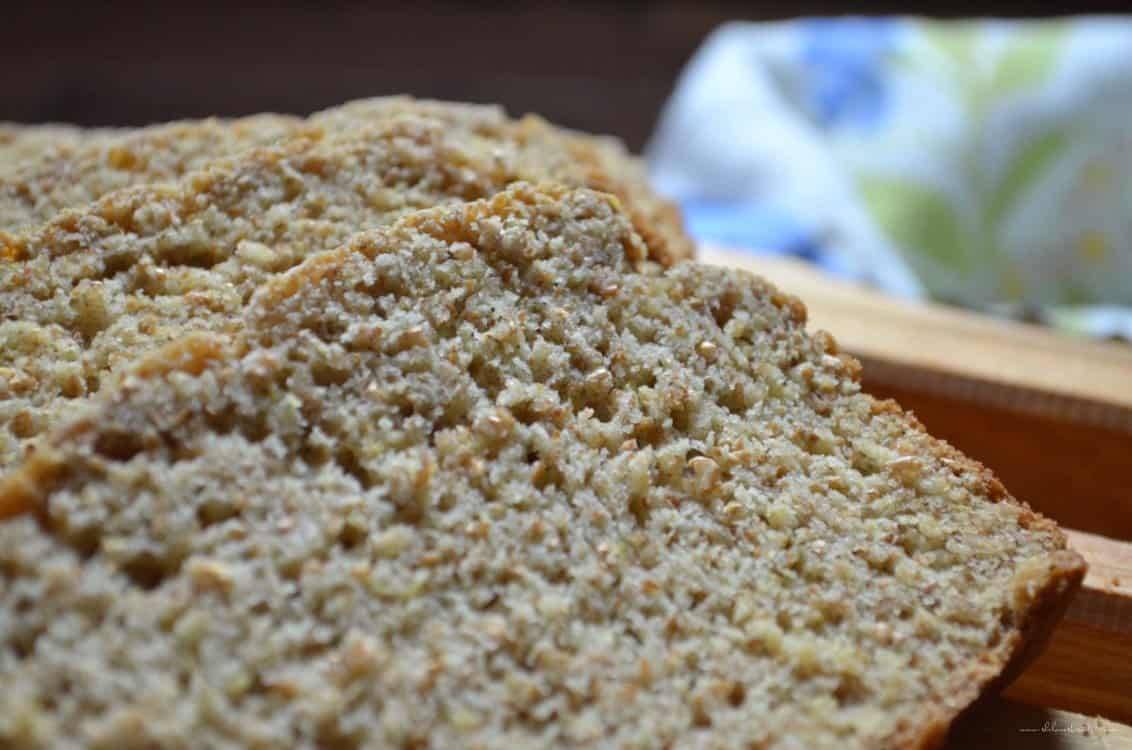 A close up of the crumb of the Whole Wheat Honey Bread.