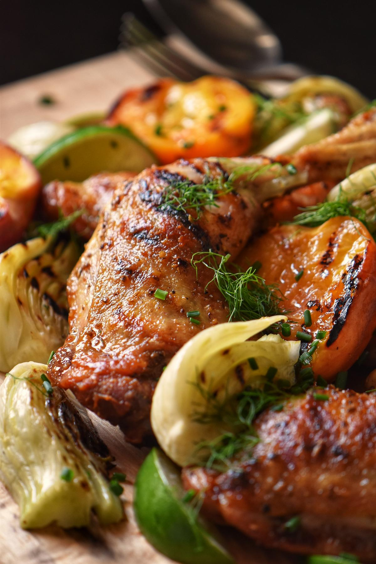 Grilled fennel and peaches with barbecued chicken.