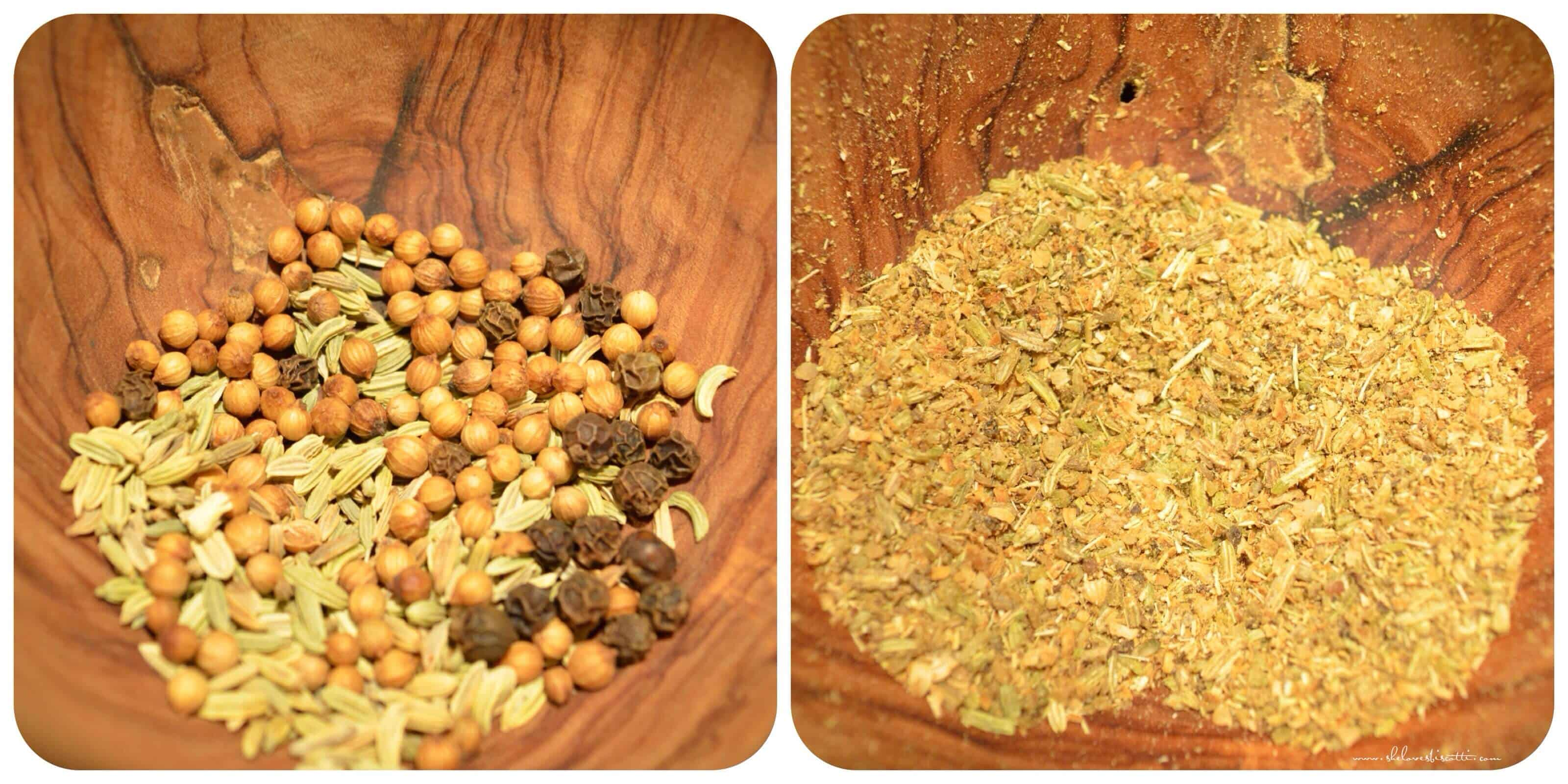 The before and after picture of whole and ground up fennel seeds, coriander and peppercorns.