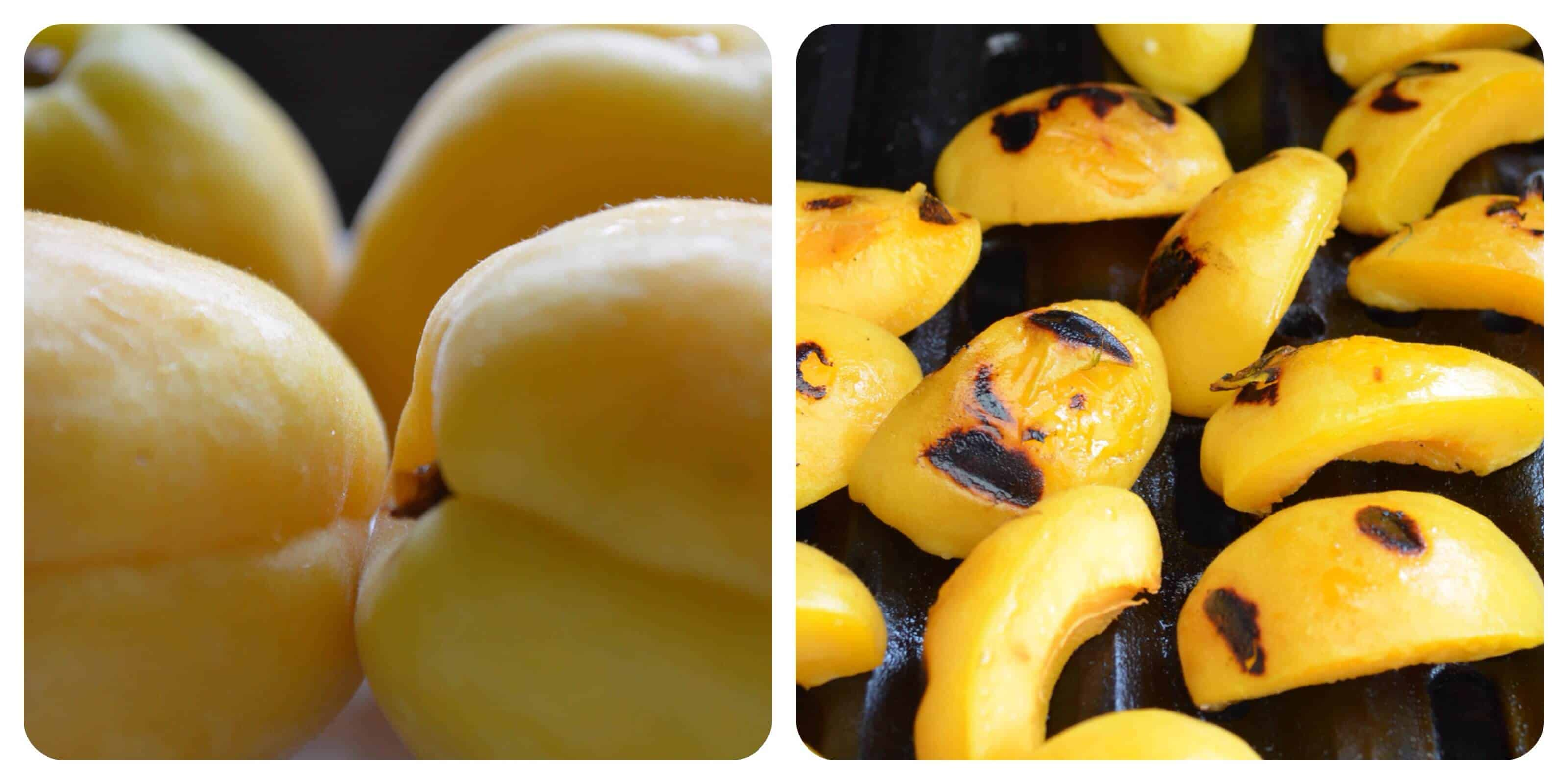 A photo collage of apricots being barbecued on a grill.