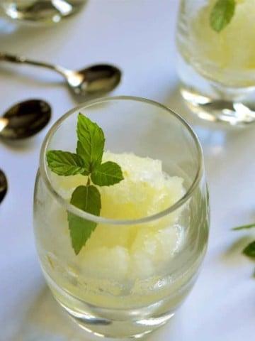 A serving of Homemade Italian Lemon Ice