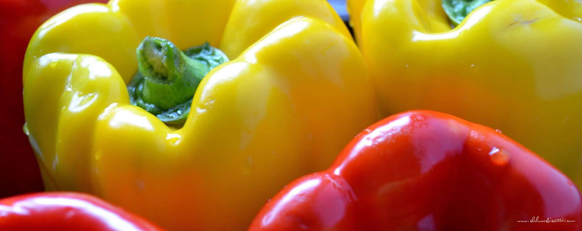 Red and yellow peppers.