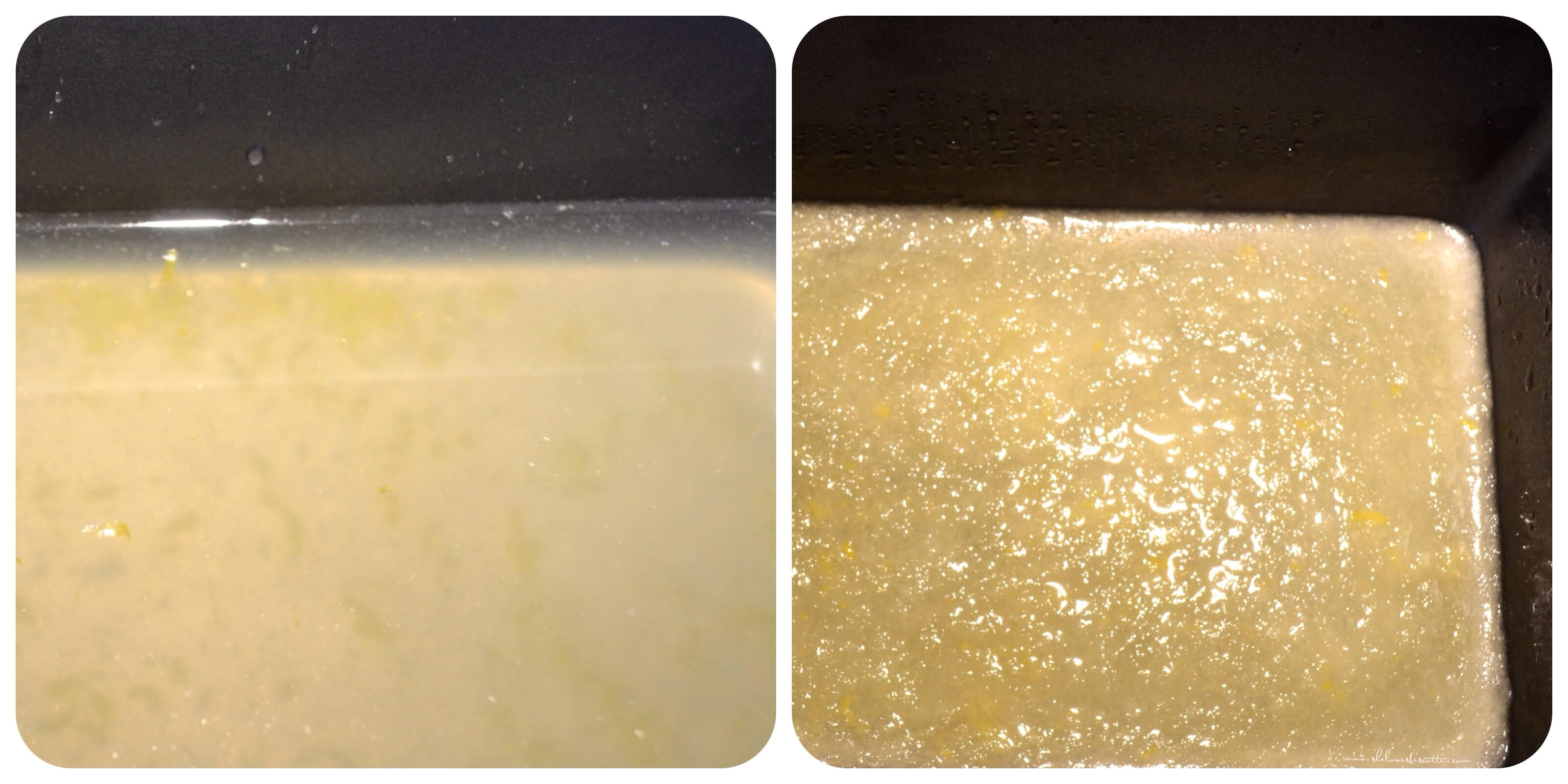 The formation of ice crystals for the lemon ice.