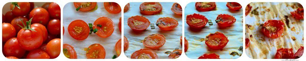 A series of process shots showing the different texture and color of the cherry tomato as it goes through the drying process.