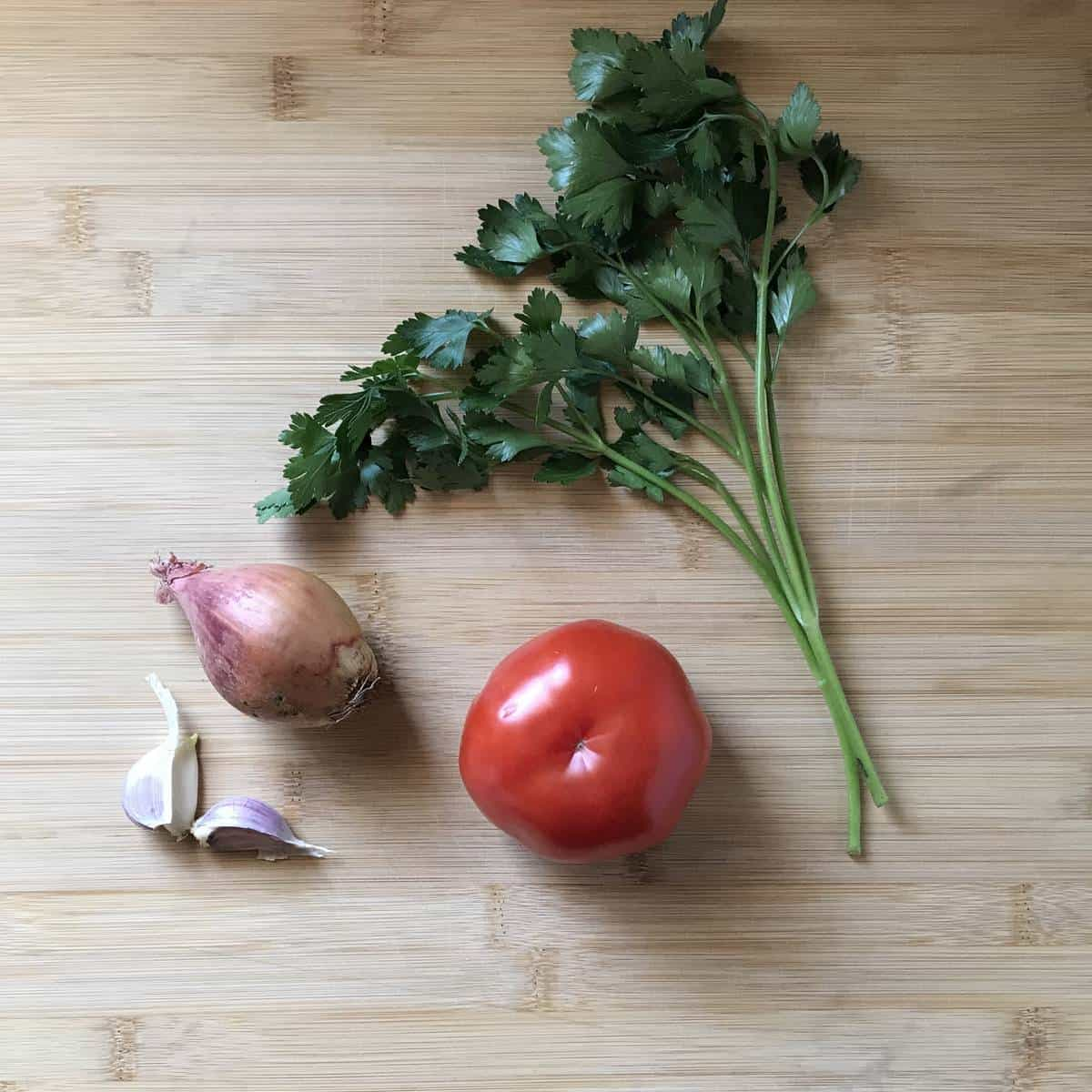 Vegetables on a wooden board.