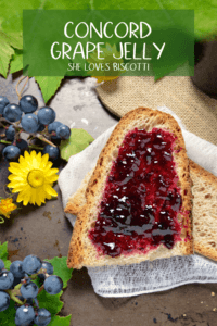 An overhead shot of a slice of whole wheat bread spread with grape jelly.