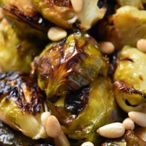 A close up shot of caramelized Brussels sprouts.
