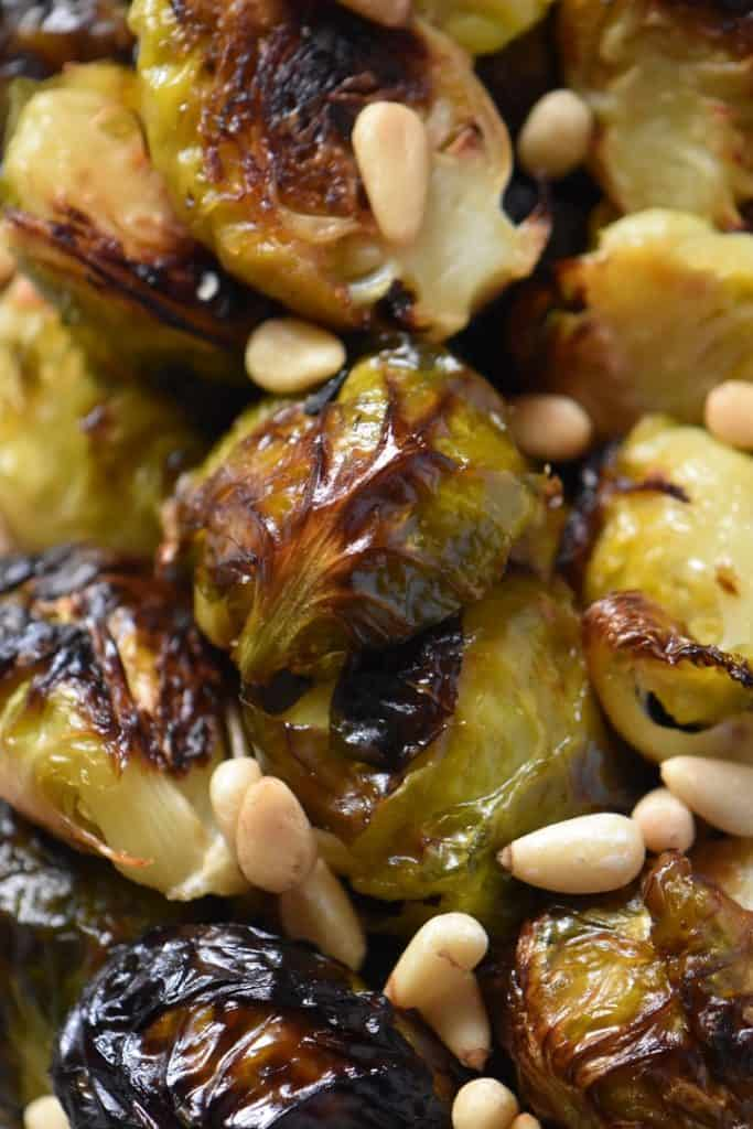 A close up shot of Roasted Brussels sprouts.