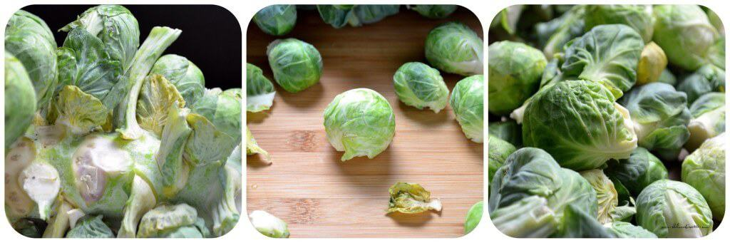 A photo collage of Fresh Brussels sprouts on a stalk.