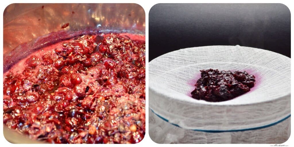 Concord grapes are boiled before being transferred to a cheesecloth, set over a large bowl in order to collect the juice required t0 make the jelly.