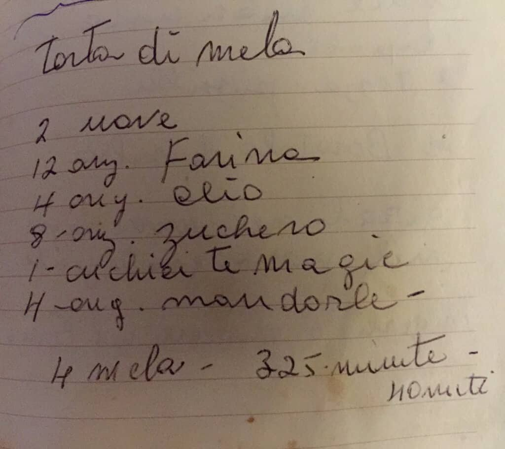A hand written recipe for apple cake from my mom's recipe book.