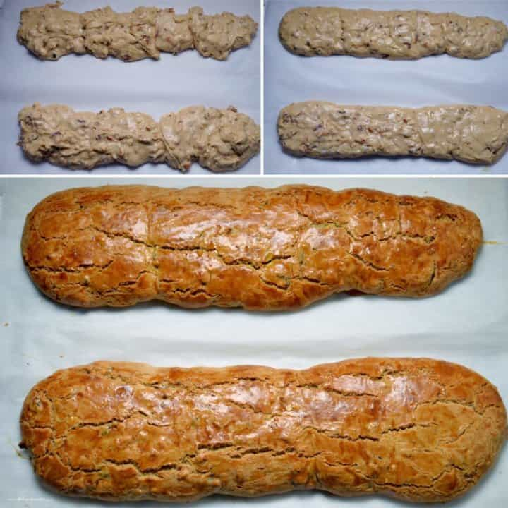 The date biscotti loaves before and after they are baked.