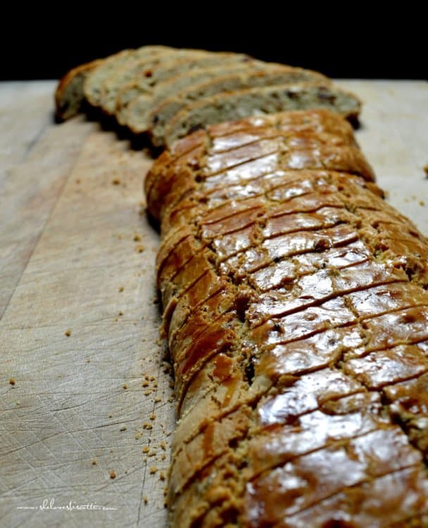 A sliced loaf of date biscotti.