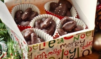 Chocolate covered almonds in a gift giving box.