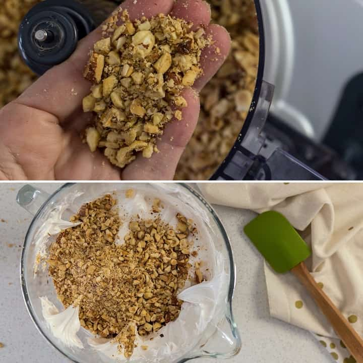 A collage of 2 pictures showing the texture of the nuts to make the brutti ma buoni.