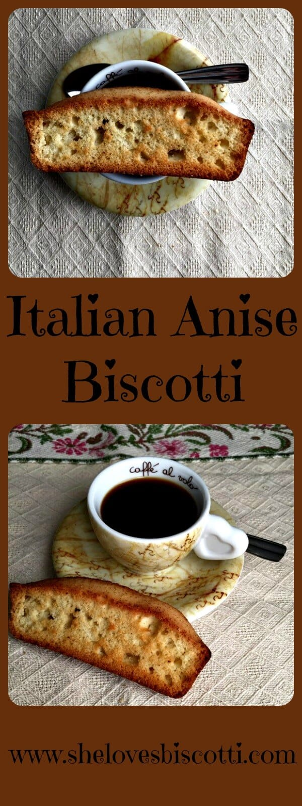 Two different pictures of an anise biscotti shown with a cup of espresso.