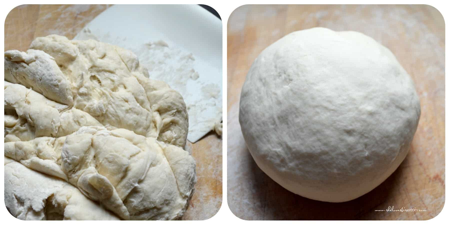 Step by step photos of how the ball of cavatelli dough comes together.