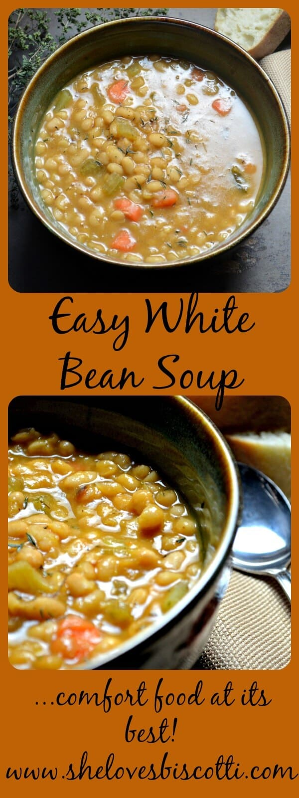 A bowl of white bean soup.