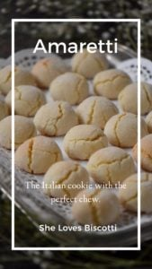 Soft amaretti cookies on silver tray.