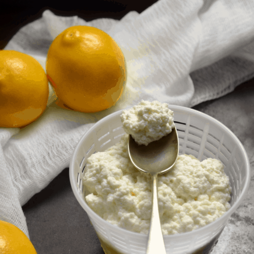 Fresh homemade ricotta cheese made with just 3 ingredients, milk, lemon juice and salt.