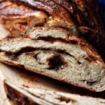 The soft interior of a braided bread recipe with a chocolate filling.
