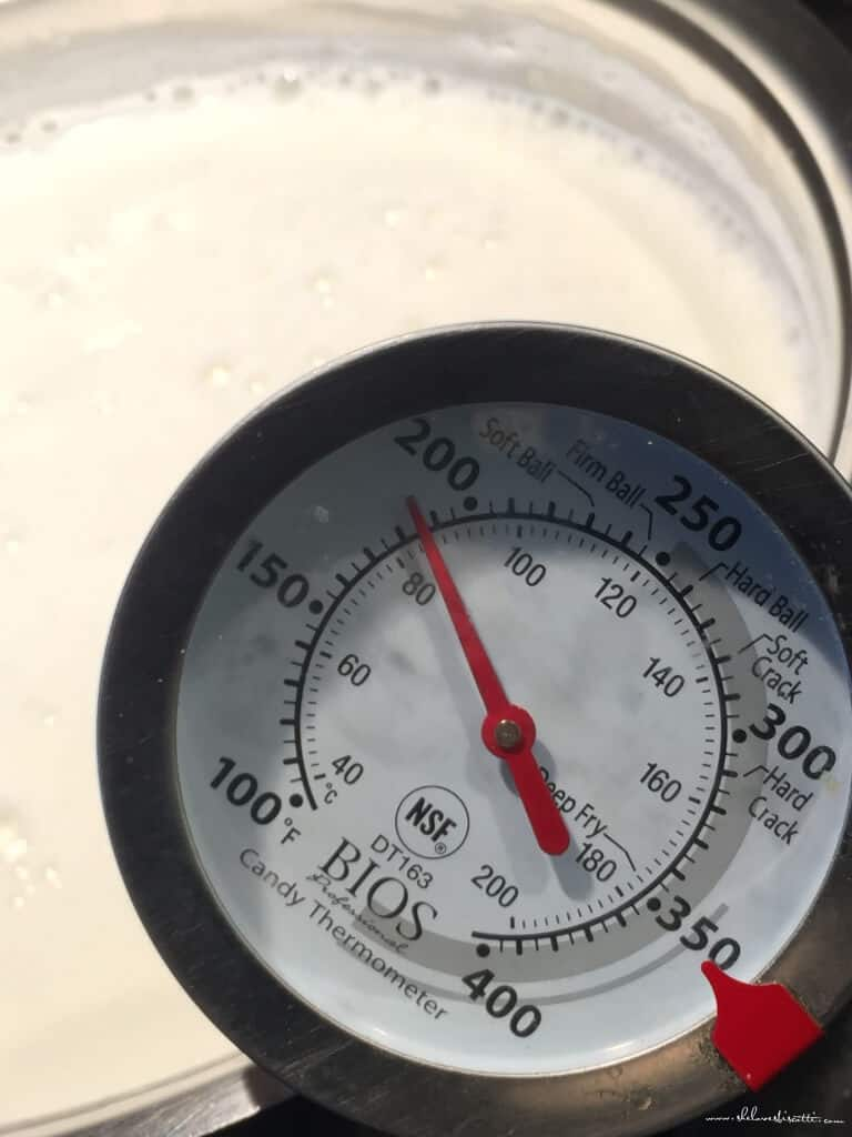 A thermometer reads 185 degrees, the perfect temperature to add the lemon juice to make our fresh ricotta cheese.