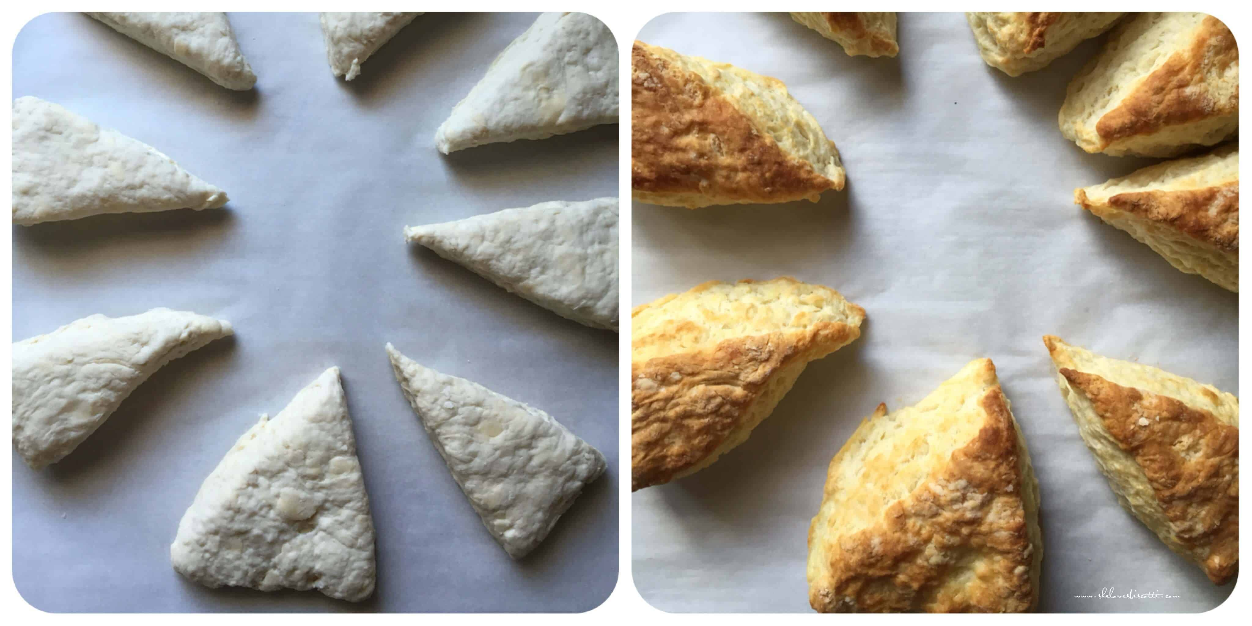 A photo collage of the biscuits before and after they are baked.
