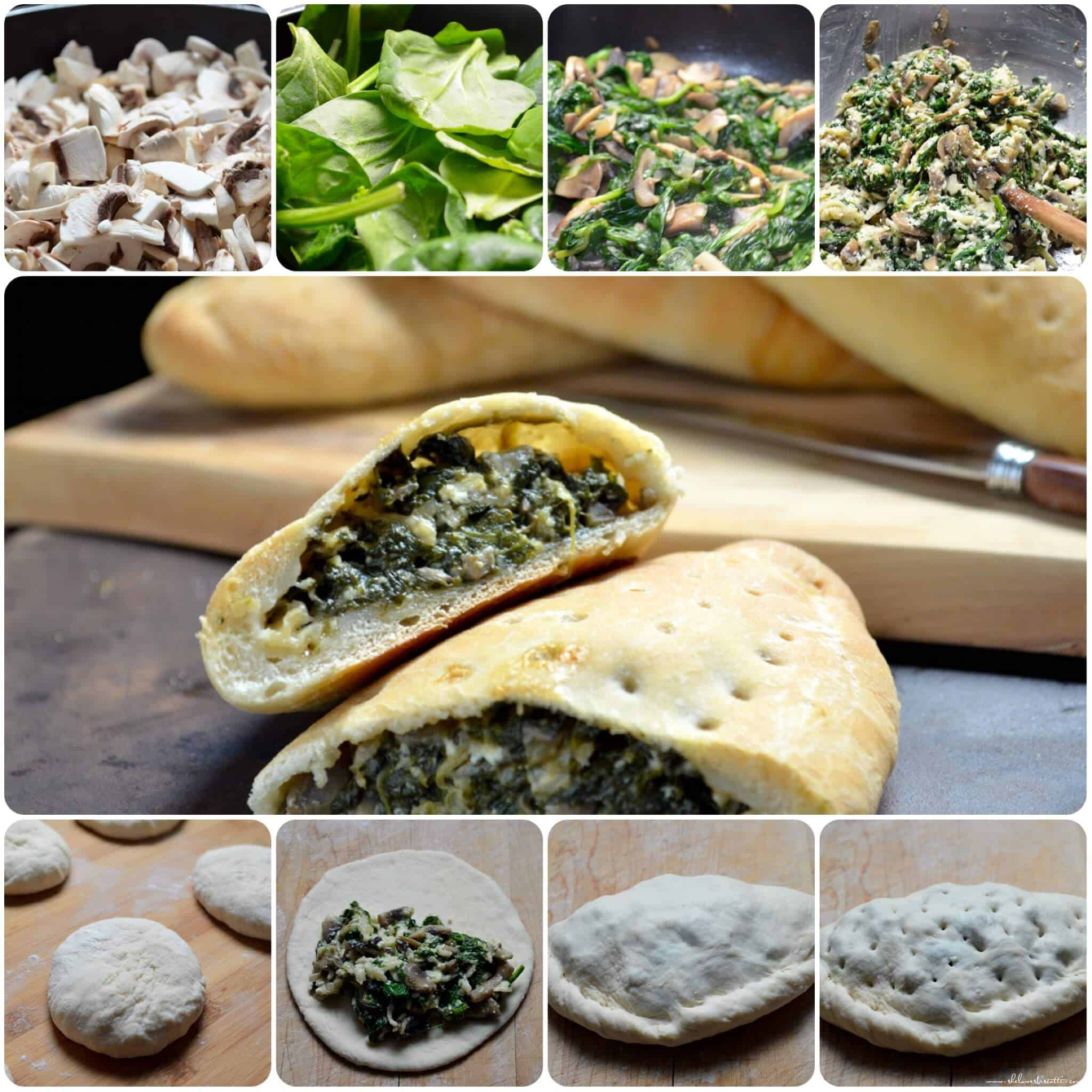 A step by step photo collage of how to make calzones.