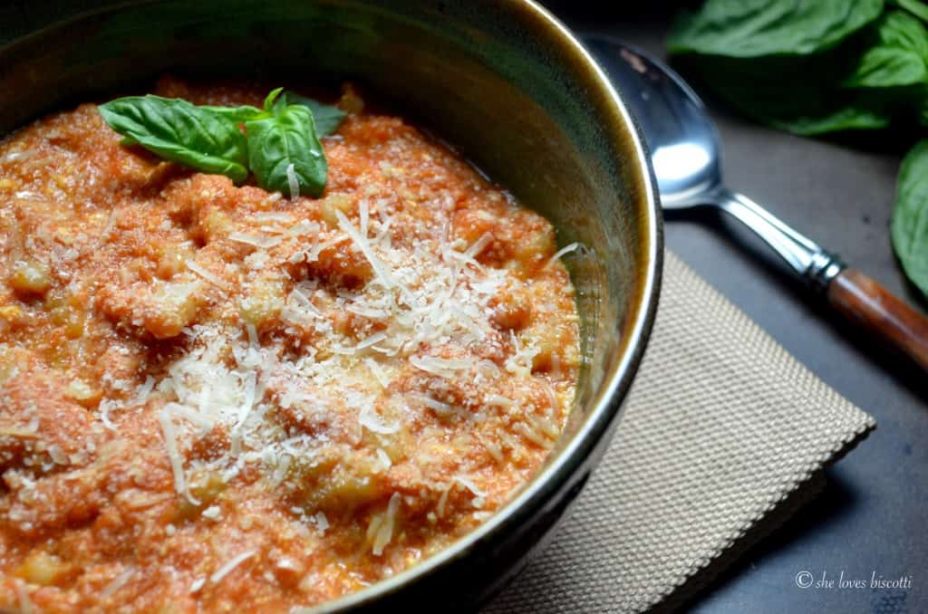 Cavatelli with tomato ricotta sauce