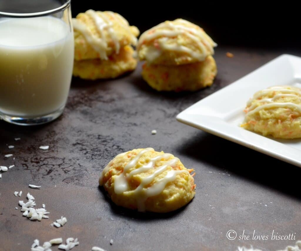 Glazed Yogurt Carrot Cookies