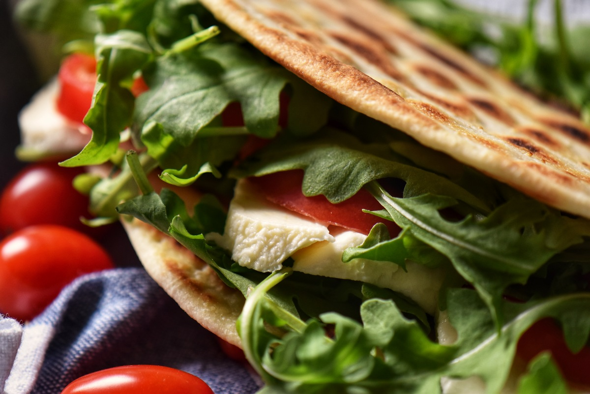 A blistered piadina flatbread.