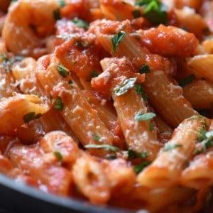 Italian pasta recipe combined with arrabbiata sauce.