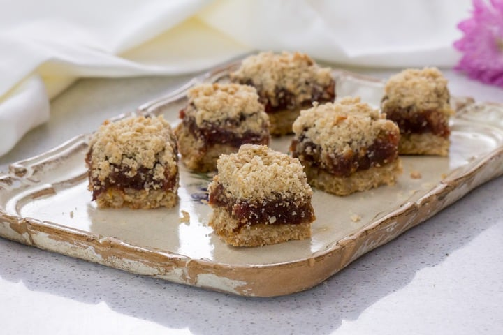Date squares on a rectangular tray.