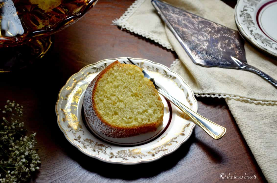 A picture of a Traditional Italian Citrus Ring Cake shot form the top.
