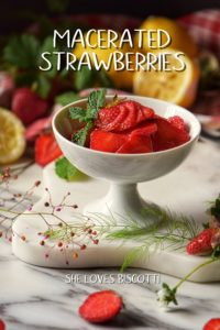 Macerated strawberries in a white dish, surrounded by fresh strawberries.