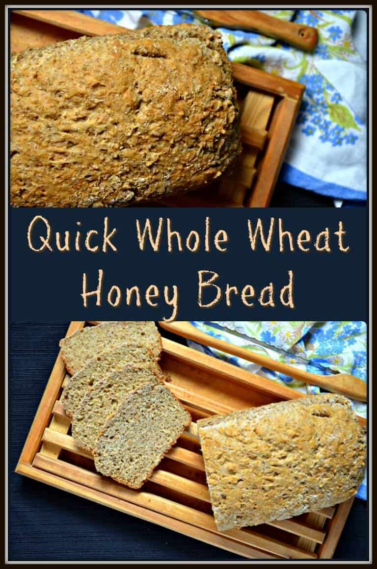 Slices of this Quick Whole Wheat Honey Bread.