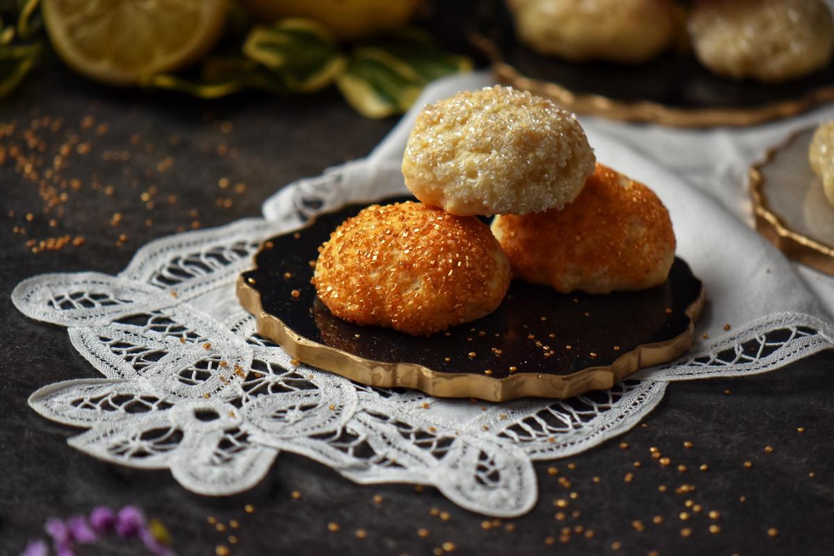 Italian ricotta cookies garnished with sanding sugar.