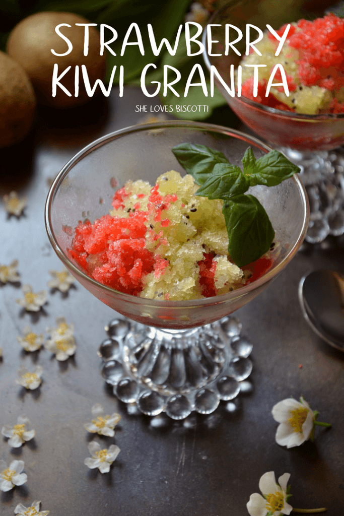 Strawberry and kiwi granita in a glass bowl decorated with mint leaves.